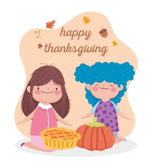 Happy thanksgiving day card with cute little girls with pie and pumpkin