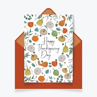 Happy thanksgiving day card with envelope