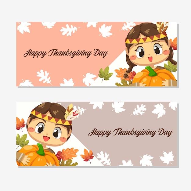 행복 한 추수 감사절 카드 소녀, 단풍 나무 잎과 호박.