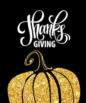 Happy thanksgiving day card with golden pumpkin
