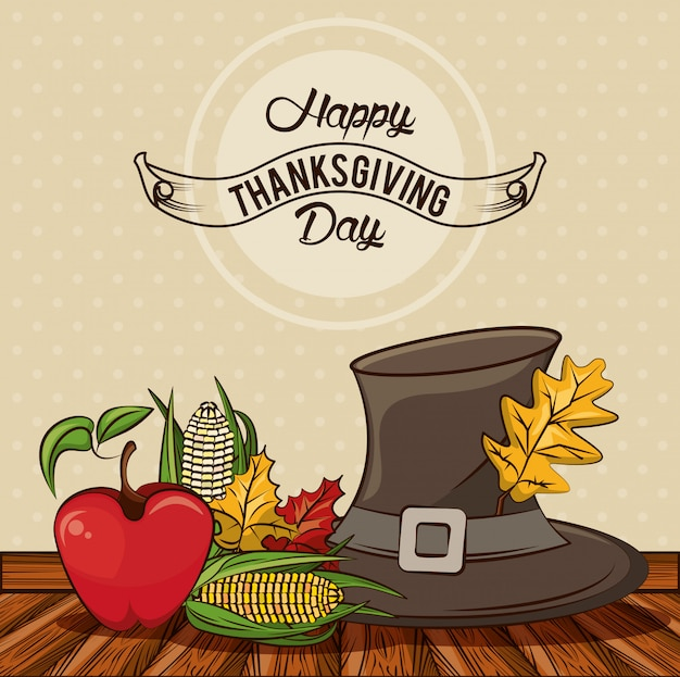 Happy thanksgiving day card with pilgrim hat and vegetables