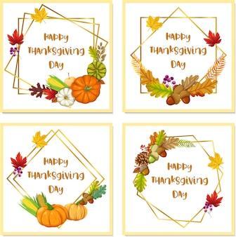 カボチャ、リンゴ、トウモロコシ、カエデの葉と幸せな感謝祭のカード