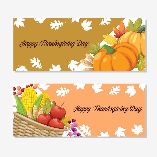 호박, 사과, 옥수수와 단풍 잎이있는 행복한 추수 감사절 카드