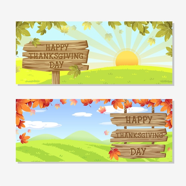 Happy thanksgiving day card with pumpkin apple corn and maple leaves