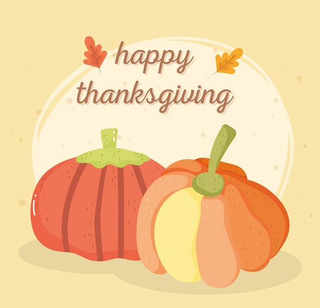 Happy thanksgiving day card with pumpkins vegetable leaves