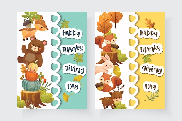 Happy thanksgiving day card con scoiattolo, orso, coniglio e cervo.