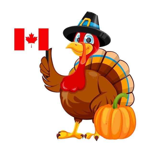 행복 한 추수 감사절 만화 칠면조 새 순례자 모자 터키 새 캐나다 국기를 들고