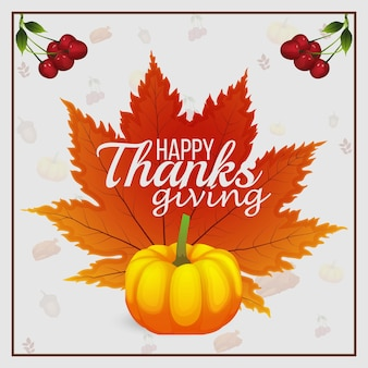 Happy thanksgiving day celebration background with autumn leaf and pumpkin