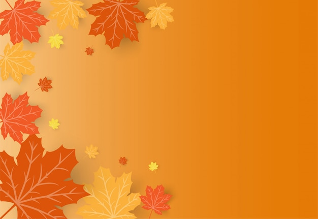Happy thanksgiving day celebration card with orange maple autumn leaves