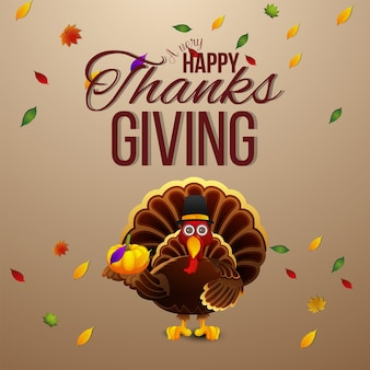 Happy thanksgiving day celebration greeting card with turkey bird and background