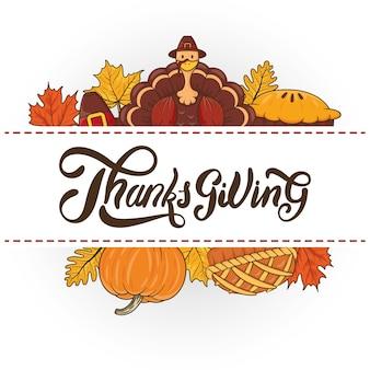Happy thanksgiving day celebration with turkey wearing pilgrim hat