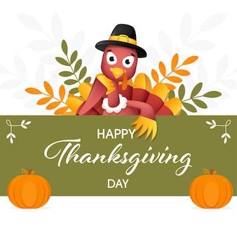 С днем благодарения концепция с птицей мультфильм турция, тыквы и листья на белом и зеленом фоне.