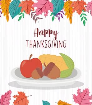 幸せな感謝祭の日コーンアップルとドングリ