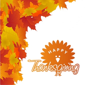 Happy thanksgiving day creative typography with spring leaves and turkey duck on white background