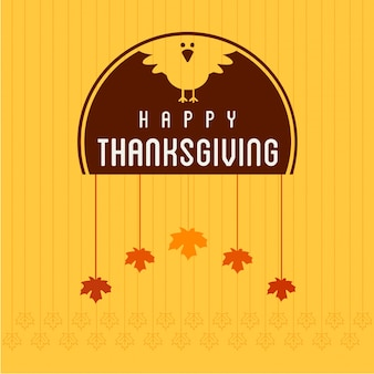 Happy thanksgiving day creative typography with turkey duck with spring leaves on yellow background