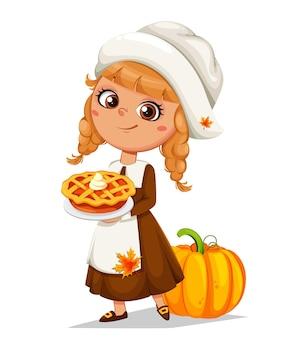즐거운 추수감사절입니다. 달콤한 파이를 들고 귀여운 작은 순례자 소녀 만화 캐릭터