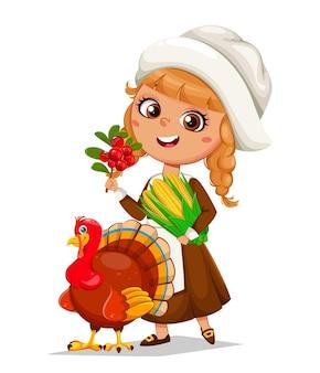 Happy thanksgiving day cute little pilgrim girl and turkey bird cartoon characters