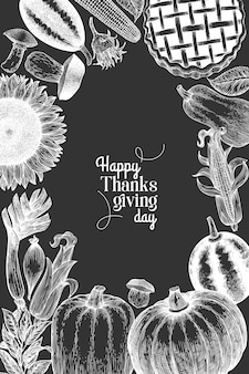 Happy thanksgiving day design template. vector hand drawn illustrations on chalk board. greeting thanksgiving card in retro style.