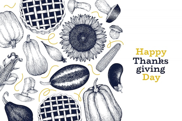 Happy thanksgiving day design template. vector hand drawn illustrations. greeting thanksgiving card in retro style.