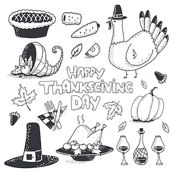 Happy thanksgiving day doodle sketch element vector set isolated.