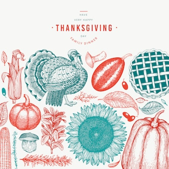 Happy thanksgiving day elements in hand drawn