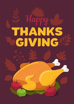 Happy thanksgiving day flat vector greeting card template. holiday turkey illustration
