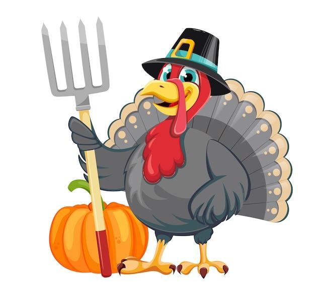 해피 추수 감사절 재미있는 만화 캐릭터 칠면조 새가 갈퀴를 들고 순례자 모자에