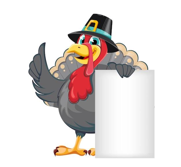 즐거운 추수감사절입니다. 배너 근처에 서 있는 순례자 모자에 재미있는 만화 캐릭터 칠면조 새