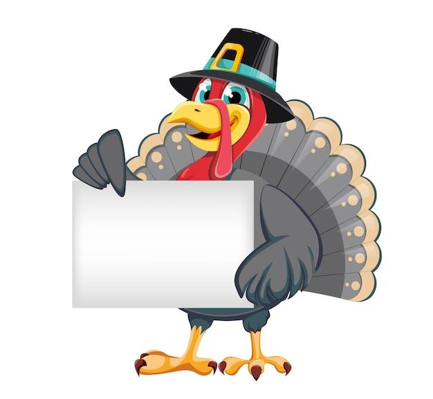 С днем благодарения забавный мультяшный персонаж индейка птица в шляпе паломника, стоящая с плакатом