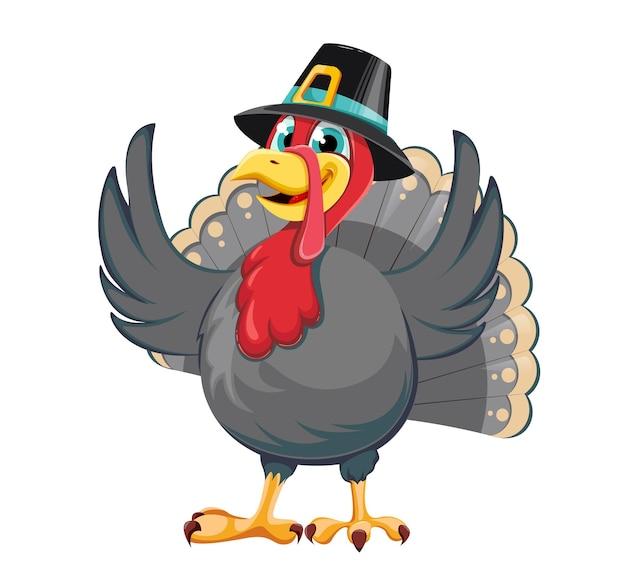 Happy thanksgiving day. funny cartoon character turkey bird in pilgrim hat. stock vector illustration on white background