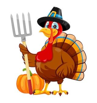 Happy thanksgiving day funny cartoon character turkey bird in pilgrim hat