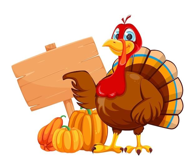 Happy thanksgiving day funny cartoon character turkey bird turkey bird pointing on wooden sign