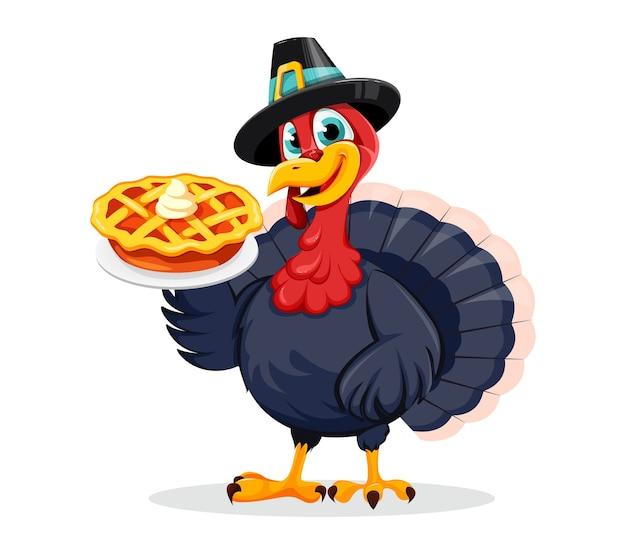 幸せな感謝祭の日。面白い感謝祭の七面鳥