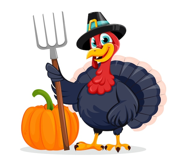 С днем благодарения день. забавный персонаж мультфильма птицы индейки