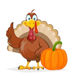 幸せな感謝祭。面白い七面鳥の鳥