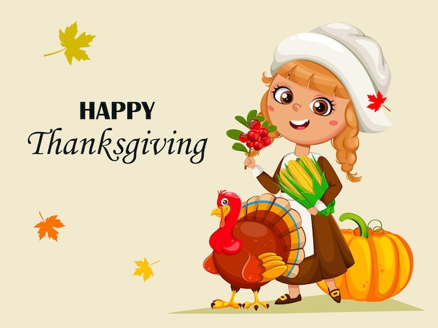 Happy thanksgiving day greeting card cute little pilgrim girl and turkey bird cartoon characters