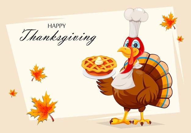 행복 한 추수 감사절 인사말 카드입니다. 재미있는 만화 캐릭터 칠면조 새입니다. 호박 파이와 터키 새 요리사입니다. 스톡 벡터 일러스트 레이 션