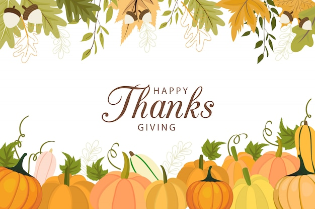 Happy thanksgiving day greeting card template with vegetables and colorful leaves.