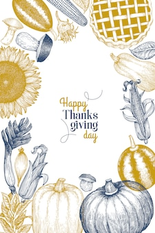 Happy thanksgiving day greeting card template.