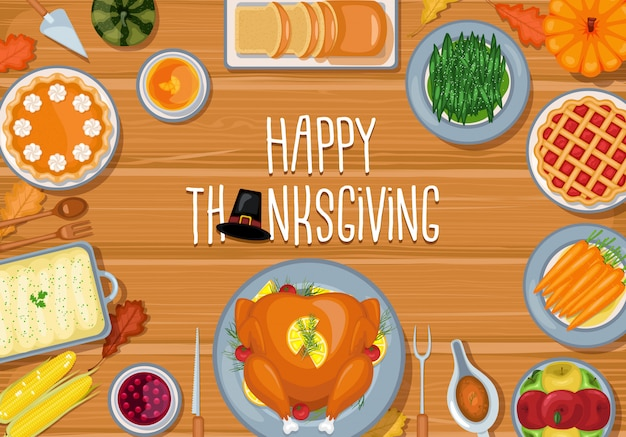 Happy thanksgiving day greeting card with flat background design