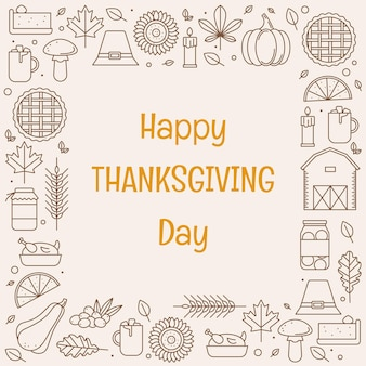 Happy thanksgiving day greeting card with frame of line icons vector illustration