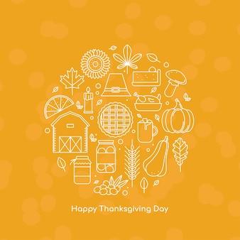 線のアイコンと幸せな感謝祭のグリーティングカードアウトラインスタイルのベクトル図