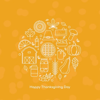 Happy thanksgiving day greeting card with line icons vector illustration in outline style