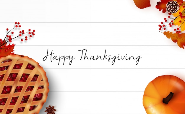 Happy thanksgiving day greeting card with realistic background design