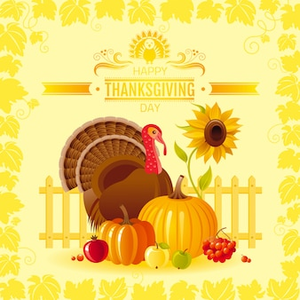 Happy thanksgiving day greeting card with turkey bird, pumpkin, sunflower and vineyard leafs frame.