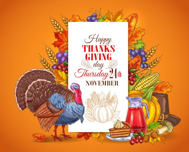 Happy thanksgiving day greeting design