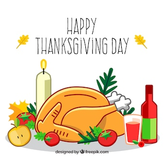 Happy thanksgiving day hand drawn background