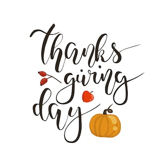 幸せな感謝祭の日手書きのレタリングベクトルフレーズ分離された白い背景
