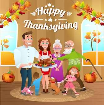 Happy thanksgiving day. happy family with baked turkey. holiday autumn greeting card, illustration