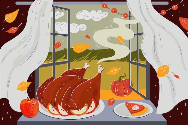 Поздравительная открытка с днем благодарения аромат вкусной жареной индейки и запеченного тыквенного пирога